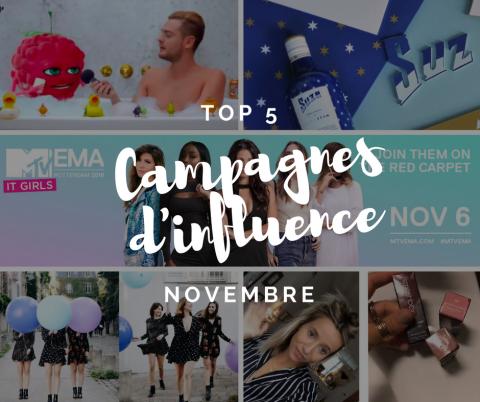 Top 5 des campagnes d'influence de novembre 2016